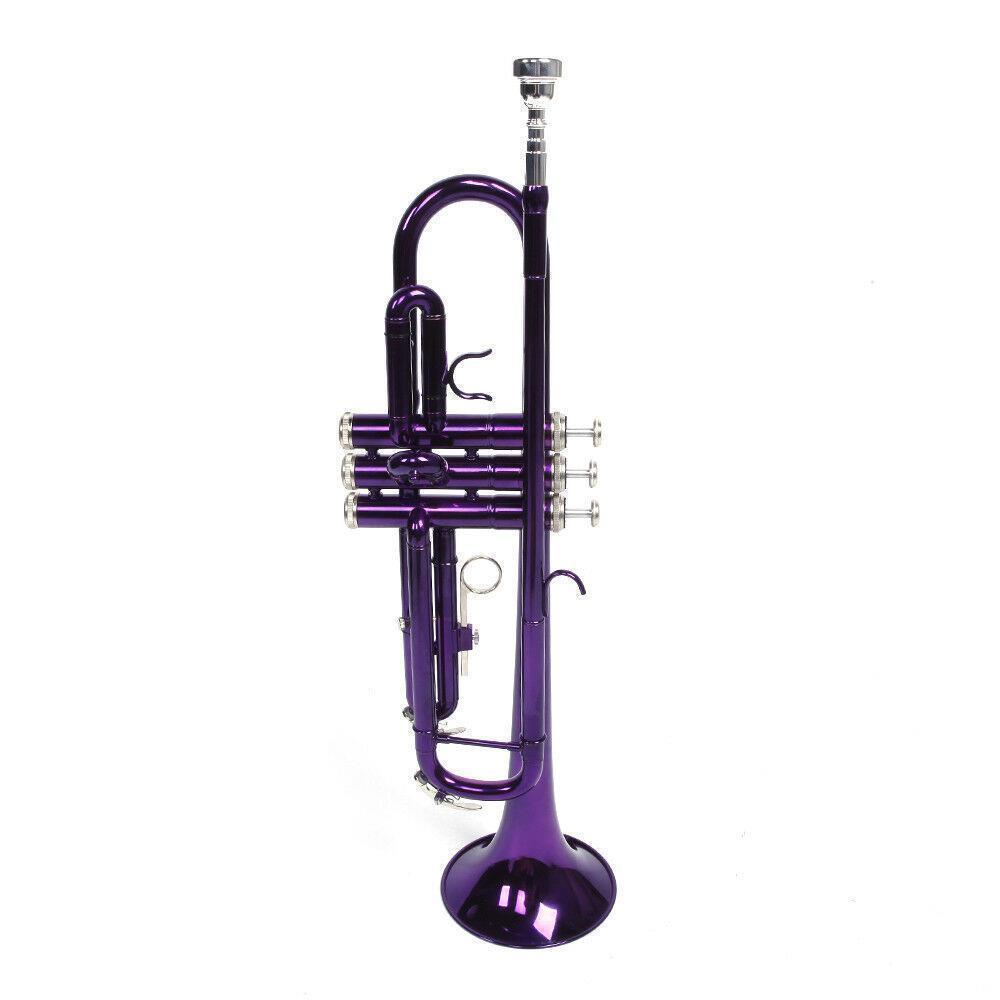 thumbnail 14 - New 6 Colors School Student Band Brass B Flat Bb Trumpet with Case for Beginner