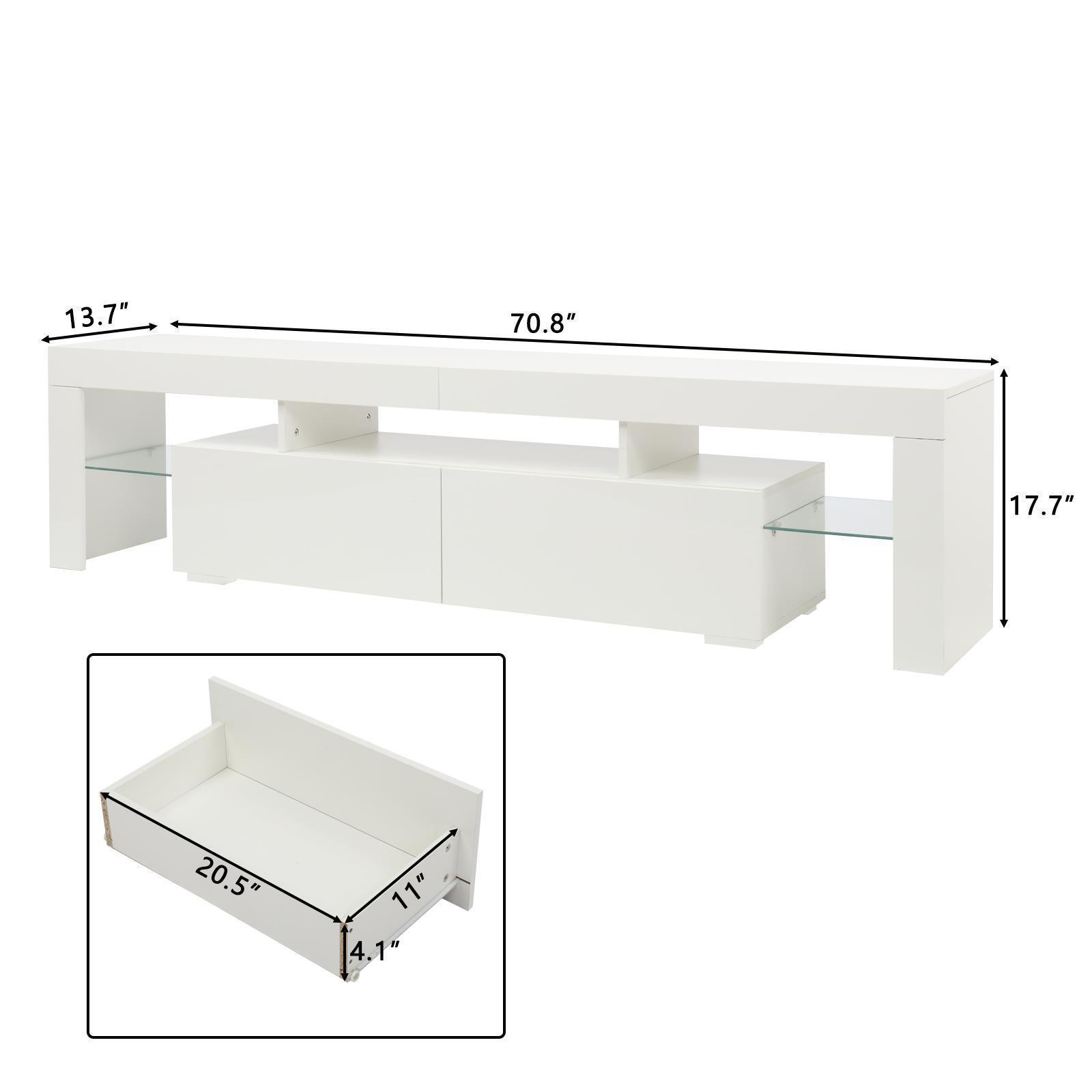"""thumbnail 14 - 51"""" Wood High Gloss LED TV Stand Entertainment Furniture Center Console Cabinet"""