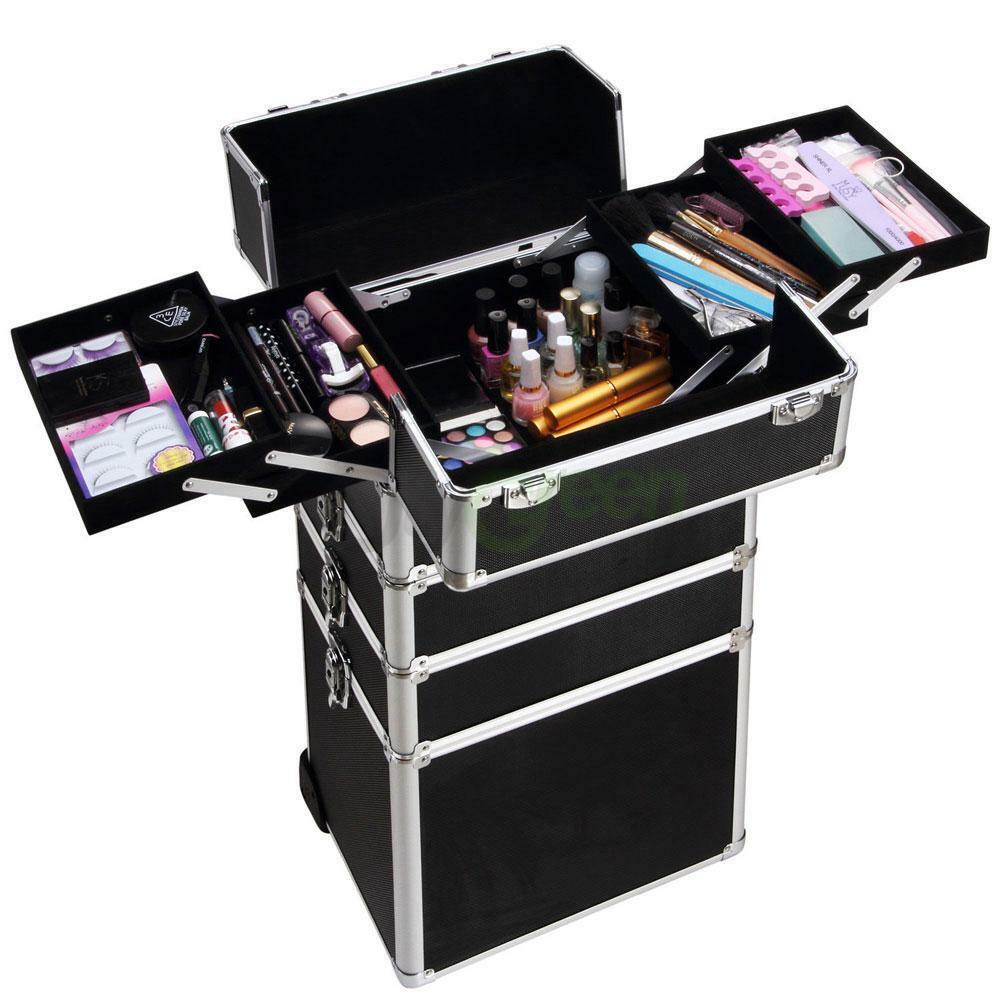 thumbnail 8 - Aluminum 4 in1 Rolling Makeup Trolley Train Case Box Organizer Salon Cosmetic