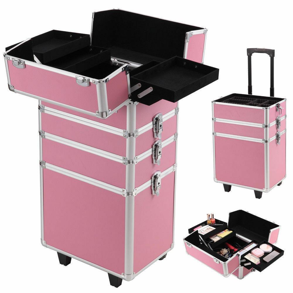 thumbnail 9 - Aluminum 4 in1 Rolling Makeup Trolley Train Case Box Organizer Salon Cosmetic