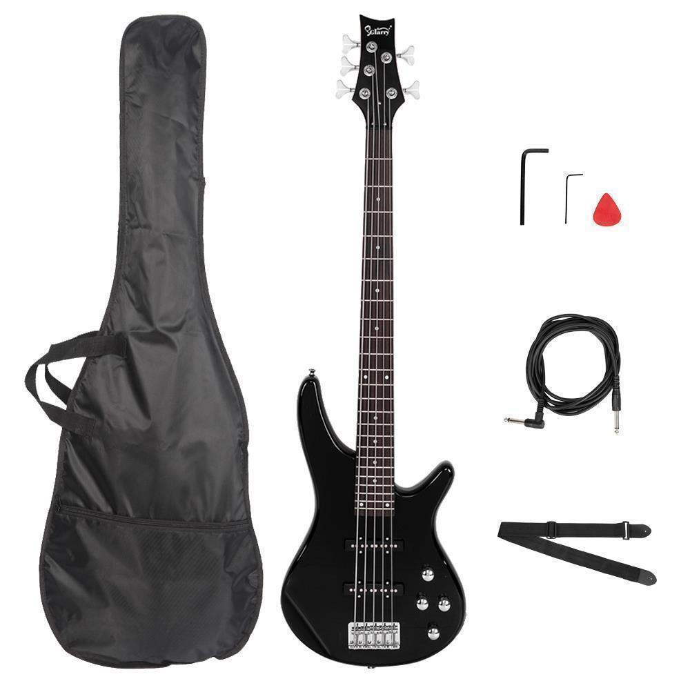 thumbnail 10 - New  Black Wood Sunset Glarry GIB Electric 5 String Bass Guitar Full Size Bag