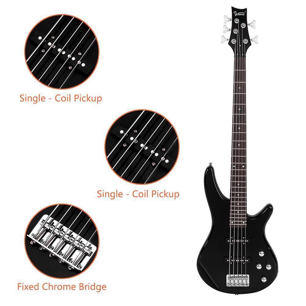 thumbnail 9 - New  Black Wood Sunset Glarry GIB Electric 5 String Bass Guitar Full Size Bag