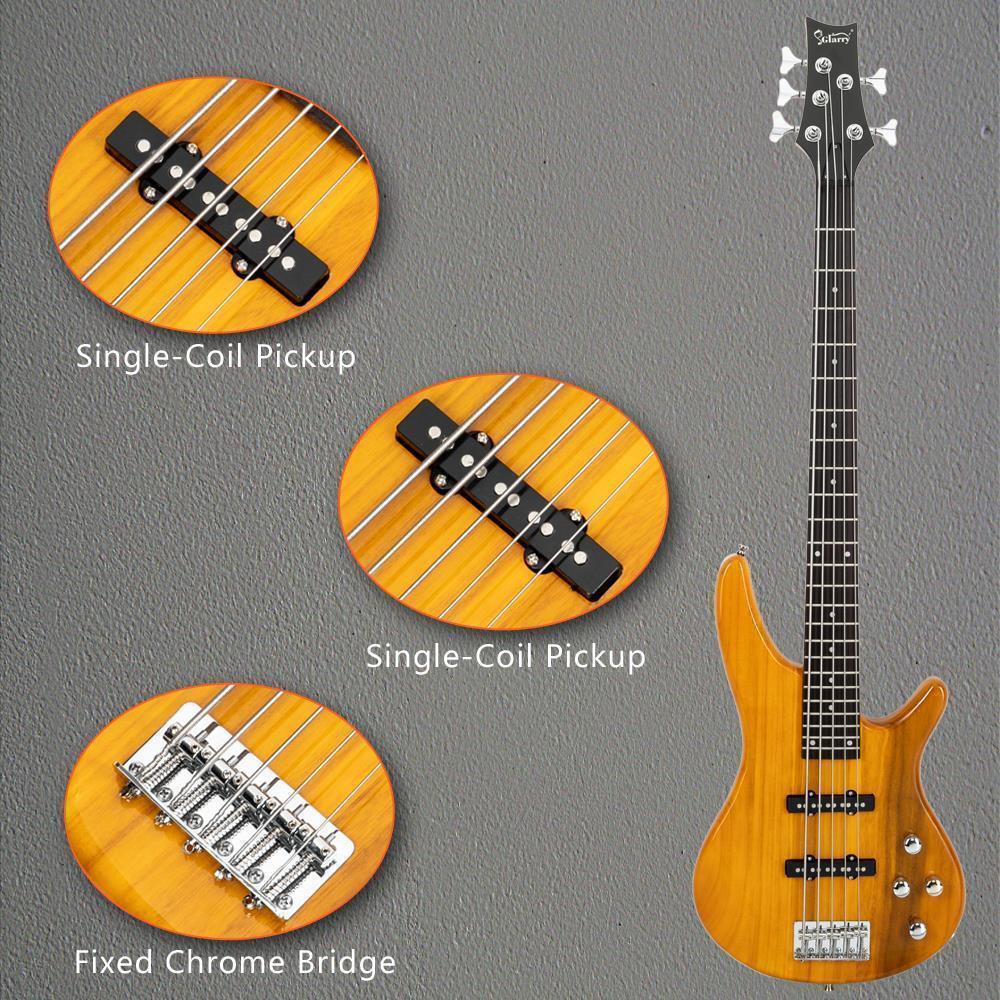thumbnail 7 - New  Black Wood Sunset Glarry GIB Electric 5 String Bass Guitar Full Size Bag