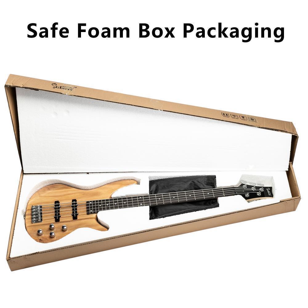 thumbnail 4 - New  Black Wood Sunset Glarry GIB Electric 5 String Bass Guitar Full Size Bag