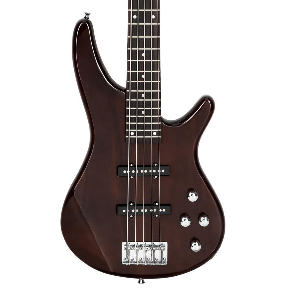 thumbnail 13 - New  Black Wood Sunset Glarry GIB Electric 5 String Bass Guitar Full Size Bag